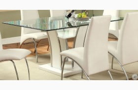 Glenview White Glass Top Dining Table