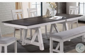 Maisie White And Brown Extendable Dining Table
