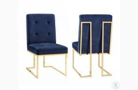 Akiko Navy Velvet Chair Set of 2