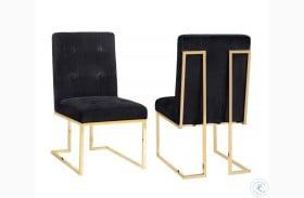 Akiko Black Velvet Chair Set of 2