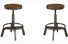 Torjin Brown and Gray Adjustable Stool Set of 2
