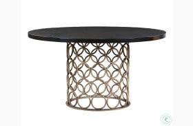 Valentina Rubbed Black Round Dining Table