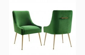 Beatrix Green Finish Velvet Side Chair