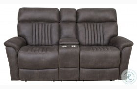 Sebastian Charcoal Power Reclining Console Loveseat