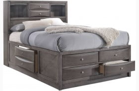 Madison Gray Bookcase Storage Bed