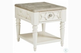 Summer Creek Scrubbed Oak And Harbor White Beachcomber Drawer End Table