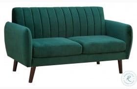 A859-680 Pine Green Mid Century Modern Velvet Sofa