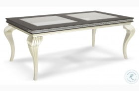 Hollywood Swank Caviar And Pearl Glass Top Dining Table