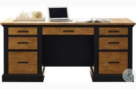 Toulouse Aged Ebony Double Pedestal Desk