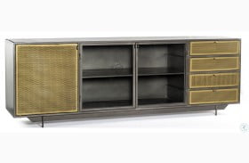 Rockwell Perforated Brass Patina Hendrick Media Console