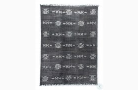 Willow Faded Black Cotton Tribal Large Rug
