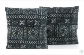 Willow Faded Black And White Mud Cloth Print Pillow Set Of 2