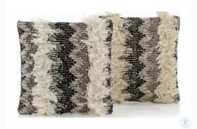 Willow Cream And Taupe Multi Fringe Pillow Set Of 2