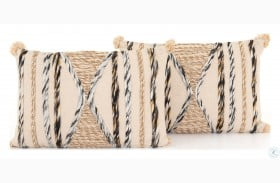 Willow Woven Grey  Natural Braided Pom Pom Rectangular Pillow Set Of 2