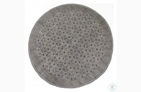 Willow Grey And Blue Flatweave Faded Print Large Round Rug