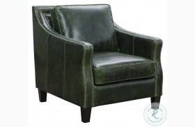 Miles Fescue Green Leather Accent Chair