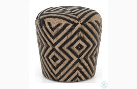 Grass Roots Natural Black Lucia Woven Outdoor Stool