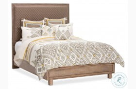 Hudson Ferry Driftwood Diamond Quilted Brown Upholstered Panel Bed