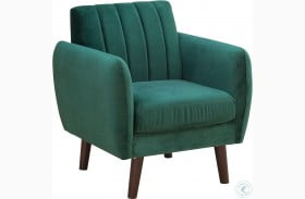 Mid Century Modern Pine Green Velvet Accent Chair