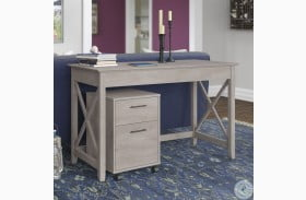 """Key West Washed Gray 48"""" Writing Desk with 2 Drawer Mobile Pedestal"""