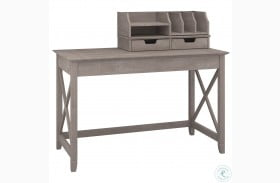"""Key West Washed Gray 48"""" Writing Desk with Desktop Organizers"""