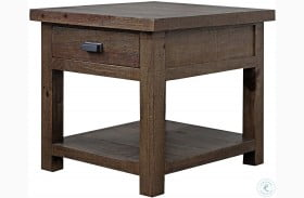 Lapaz Rustic Worn Pine End Table