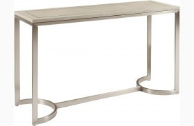 City Chic Modern Light Gray Shagreen and Metal Console