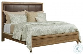 Modern Forge Light Stain Longview Upholstered Panel Bed