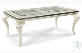 Hollywood Swank Pearl Caviar Glass Top Dining Table