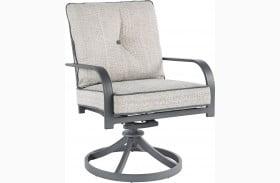 Donnalee Bay Dark Gray Outdoor Swivel Lounge Chair Set of 2