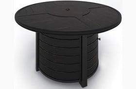 Castle Island Dark Brown Round Outdoor Fire Pit Table