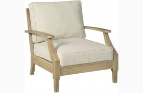 Clare View Beige Outdoor Lounge Chair with Cushion