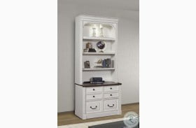 Provence Vintage Alabaster Lateral File Cabinet With Hutch