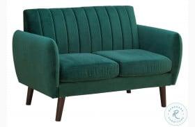 A859-681 Pine Green Mid Century Modern Velvet Loveseat
