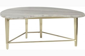 Accentrics Home Kidney Shaped Marble Top Cocktail Table