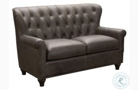 Charlie Heritage Brown Tufted Leather Loveseat
