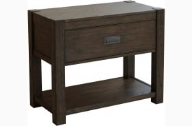 Modern Authentics Wire Brushed Dark Oak Nightstand