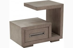 True Modern Natural Taupe 1 Drawer Cantilever Nightstand