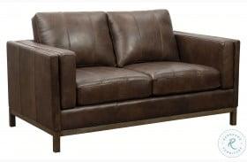 Drake Brown Wooden Base Leather Loveseat