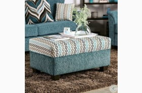 River Turquoise Ottoman