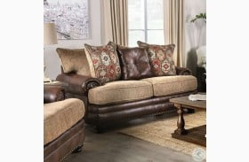 Fletcher Brown and Tan Loveseat