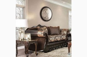 Newdale Brown and Gold Loveseat