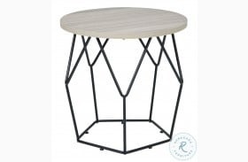 Waylowe Light Brown And Black End Table