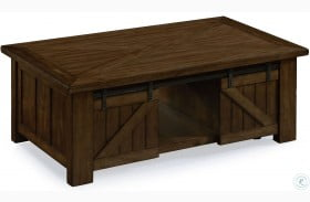 Fraser Rustic Pine Wood Rectangular Casters Lift-Top Cocktail Table