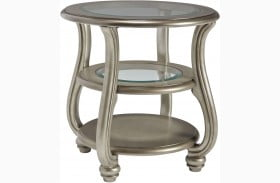 Coralayne Silver Round End Table