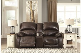 Hallstrung Chocolate Power Reclining Console Loveseat with Adjustable Headrest
