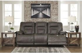 Wurstrow Smoke Leather Power Reclining Sofa with Adjustable Headrest
