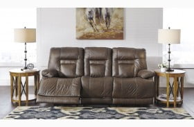 Wurstrow Umber Leather Power Reclining Sofa with Adjustable Headrest