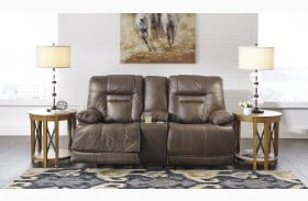 Wurstrow Umber Power Reclining Console Loveseat with Adjustable Headrest