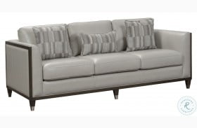 Addison Frost Grey Wooden Base Leather Sofa